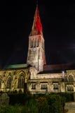 Собор Лестера башней ночи Стоковые Изображения