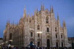 Собор Милана на сумраке Стоковые Изображения RF