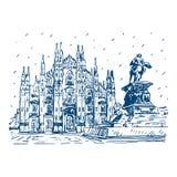 Собор милана с статуей Vittorio Emanuele II, Италия Стоковые Фото