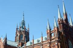 Собор непорочного зачатия благословленного фасада в июле девой марии неба собора голубого стоковые фото
