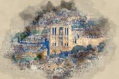 Собор Нотр-Дам в Париже - виде с воздуха бесплатная иллюстрация