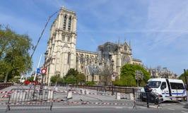Собор Нотр-Дам в Париже после огня стоковое изображение rf