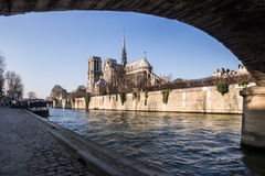 Собор Нотр-Дам готический в Париже Стоковая Фотография