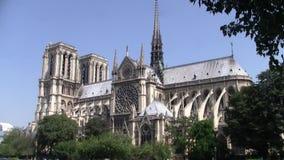 Собор Нотр-Дам de Парижа перед огнем сток-видео