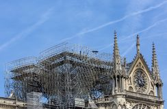 Собор Нотр-Дам de Парижа после огня 15-ого апреля 2019 стоковые изображения rf