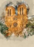 Собор Парижа Нотр-Дам - туристическая достопримечательность стоковое изображение rf