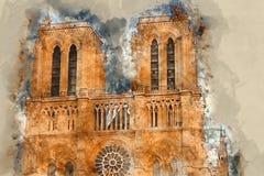 Собор Парижа Нотр-Дам - туристическая достопримечательность стоковое фото