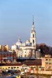 Собор предположения, собор троицы и колокольня в Kineshma Стоковые Изображения