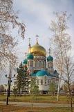 Собор предположения (собор Dormition) в Омске Стоковые Фотографии RF