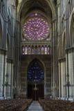Собор Реймс розовое Windows Стоковые Изображения RF