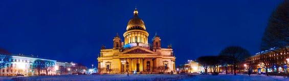 Собор Санкт-Петербург St Исаак панорамы, Россия январь Стоковое Изображение RF