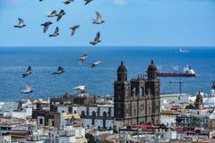 Собор Санта-Ана (святой Собор-базилики Canaries) в Las Palmas увиденном от холма Стоковые Фото