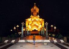 Собор святейшей троицы Тбилиси на ноче Стоковая Фотография