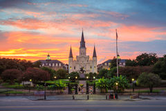 Собор Сент-Луис и квадрат Джексона в Новом Орлеане Стоковая Фотография RF