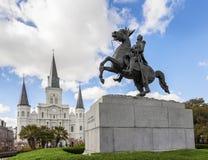 Собор Сент-Луис и статуя Эндрю Джексона, Новый Орлеан, Стоковое Изображение