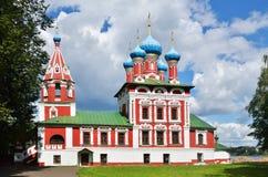 Собор с башней колокола в Uglich, Россией Стоковая Фотография