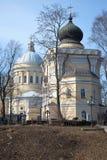 Собор троицы и церковь St Nicholas солнечное после полудня в марше Взгляд от кладбища St Nicholas lav Александра Nevsky стоковое изображение rf