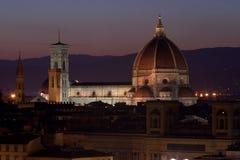 Собор Флоренса в ноче Стоковые Изображения