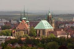 Собор Эрфурта и церковь Severi стоковые изображения
