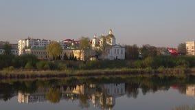 Собор явления божества, вечер в апреле Полоцк, Россия сток-видео