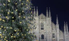 Собор Duomo во время праздников рождества, Милана Стоковые Фото