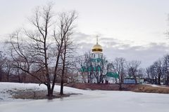 Собор Fedorovskiy на замороженном пруде в Tsarskoe Selo в s Стоковое Фото