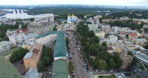 Собор Michaels городского пейзажа Kyiv визирования городского пейзажа моста Украины и Podolsky видеоматериал