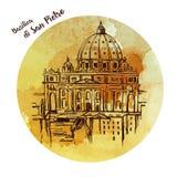 Собор ` s St Peter, Рим, Италия Нарисованная рукой иллюстрация вектора на белой предпосылке Базилика Pietro Святого бесплатная иллюстрация