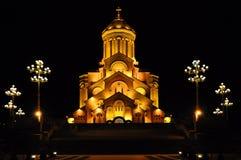 Собор Sameba святой троицы Тбилиси на ноче, Georgia стоковое фото rf