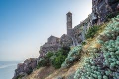 Собор Sant Антонио притухает в Castelsardo Стоковая Фотография RF
