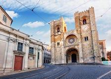 Собор Santa Maria Maior Лиссабона, Португалии - никто стоковые фото