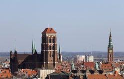 Собор St Mary в старом городке Гданьска Стоковое Фото