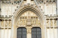 Собор St Michael и St Gudula в Брюсселе, Бельгии стоковая фотография rf