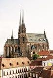 Собор St Peter и Пола, Брна, чеха, ретро фильтра Стоковые Изображения