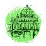 Собор St Peter s, Рим, Италия Вручите вычерченную иллюстрацию вектора изолированную на белой предпосылке Базилика Pietro Святого иллюстрация штока