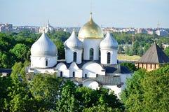 Собор StSophia от взгляда глаза птицы, Veliky Новгорода Стоковые Фото