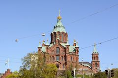 Собор Uspenski, обозревая город Хельсинки Стоковая Фотография