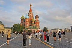 Собор Vasily благословленное в Москве, России стоковое изображение rf