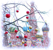 Собор Vasily благословленное на рождестве 2017 стоковое фото rf