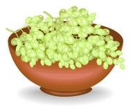 Собрал великодушный сбор шар полон зрелых сочных ягод Свежие красивые белые виноградины, источник витаминов и иллюстрация штока