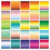 Собрание 25 абстрактных красочных градиентов Яркие цвета, ровная предпосылка для дизайна Голубой, зеленый, желтый, апельсин Стоковые Фотографии RF