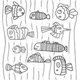 Собрание абстрактных рыб на белой предпосылке Иллюстрация Scetch Черный план на белой предпосылке иллюстрация вектора