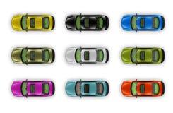 собрание автомобилей изолировало белизну взгляда сверху Стоковые Изображения RF