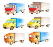 Собрание акварели установленное светлых автомобилей неиндивидуального пользования в белой изолированной предпосылке стоковая фотография rf