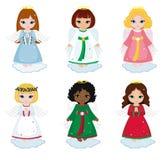 Собрание ангелов рождества на белой предпосылке Стоковое Изображение