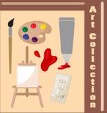 Собрание атрибутов художника Необходимые вещи для творческих способностей и чертежа стоковая фотография