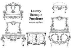 Собрание барочной роскошной мебели стиля установленное Драпирование с роскошными богатыми орнаментами Француз высек украшение Стоковое Изображение