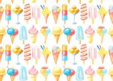 Собрание безшовной картины установленное красочного мороженого в конусе, на ручке, в стекле, акварель бесплатная иллюстрация