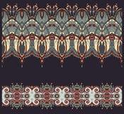Собрание безшовных орнаментальных флористических нашивок Стоковая Фотография
