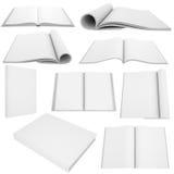 Собрание белых книг и кассет Стоковая Фотография RF